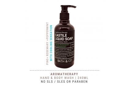 [MPLUS] BATH & CO Castile Liquid Soap Pine Rosemary Peppermint 240ml