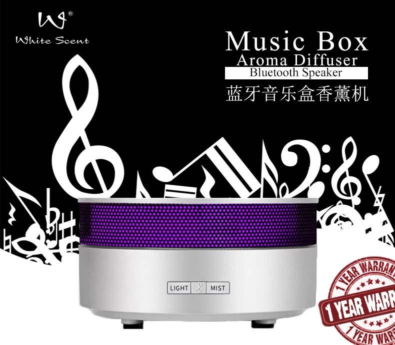 [MPLUS] White Scent Music Box & Aroma Diffuser Foc One Essential Oil Gift Set