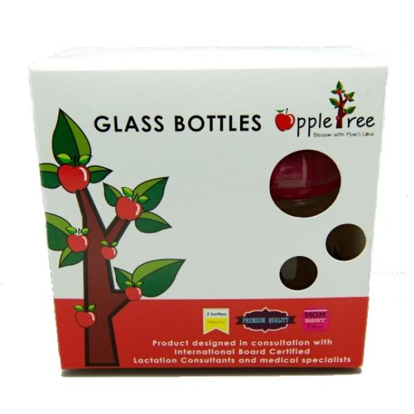 [MPLUS] APPLETREE ATBSB-G20 Breastmilk Storage Bottle Glass (Pink) 2's