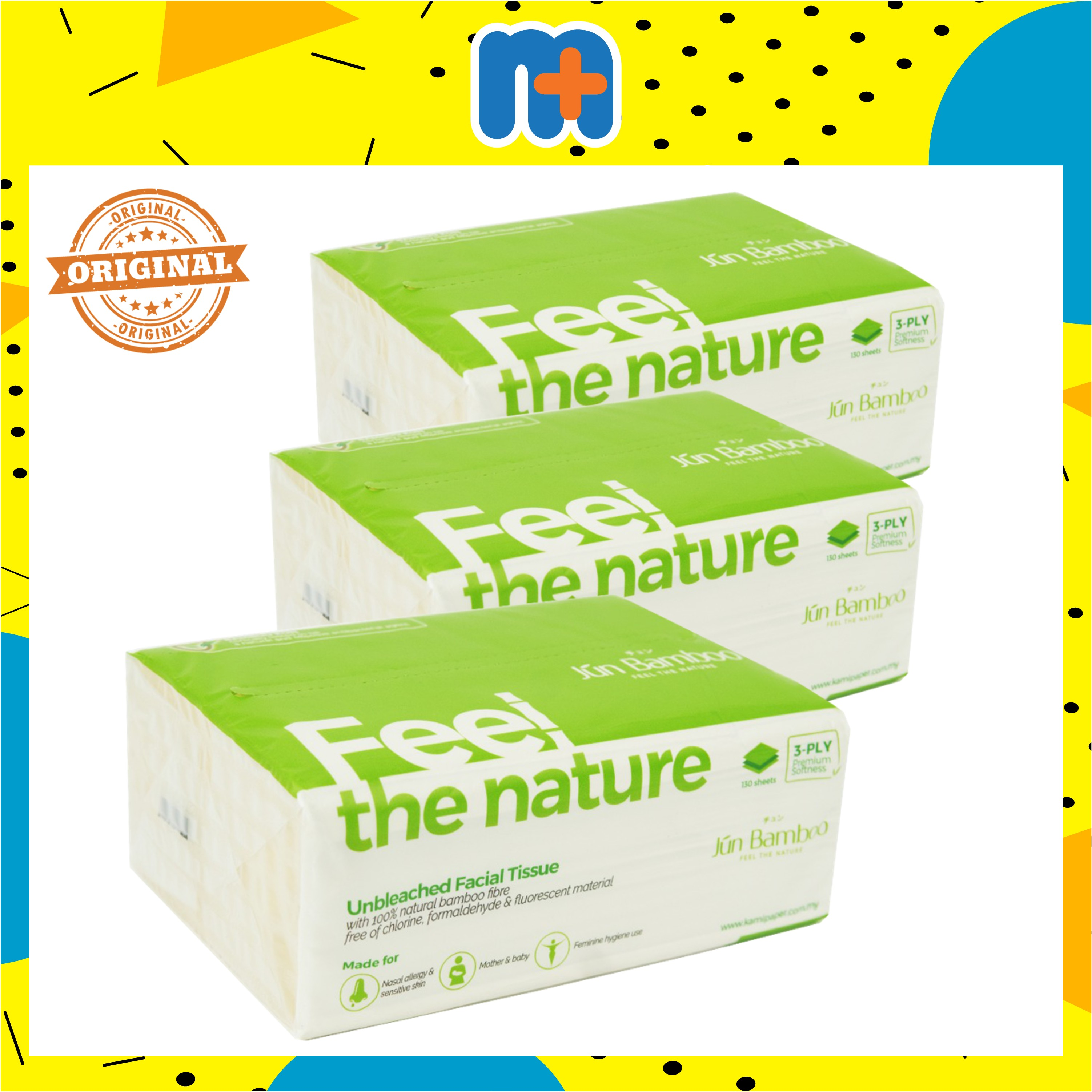 [MPLUS] Jun Bamboo Unbleached Facial Tissue Bundle (Single Pack * 3)