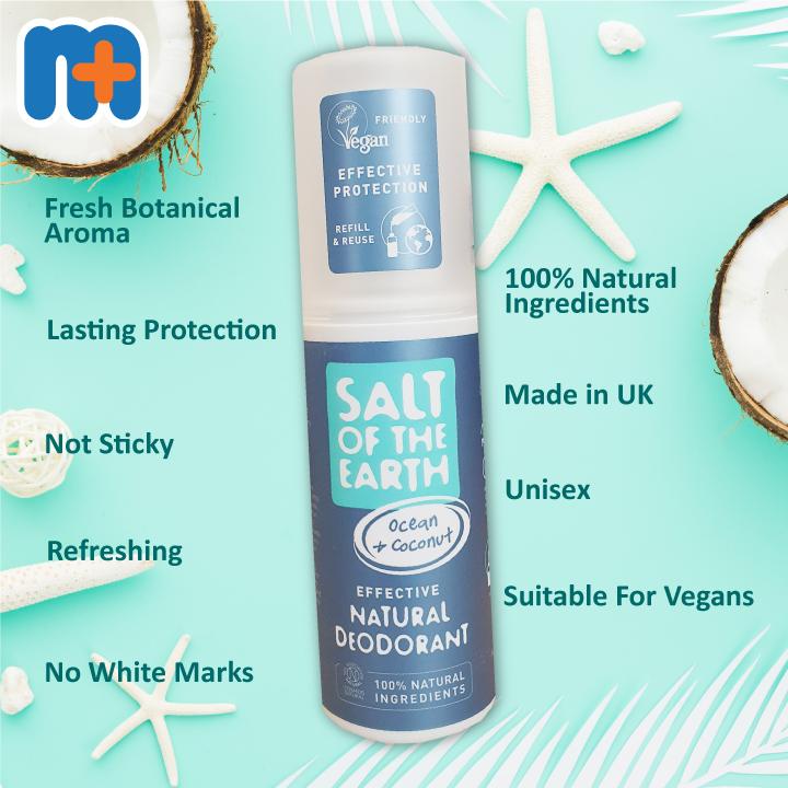 [MPLUS] SALT OF THE EARTH Natural Deodorant Spray- Ocean & Coconut 100ml