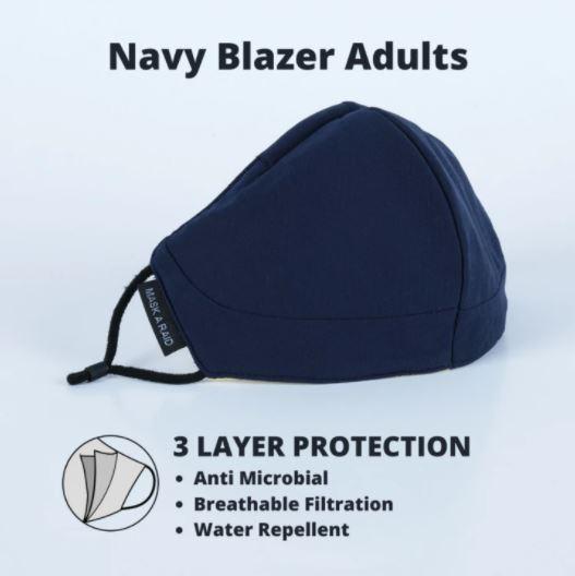 [MPLUS] MASKARAID Ultra-Premium Navy Blazer Adults Structured 3 PLY Reusable Fabric Mask