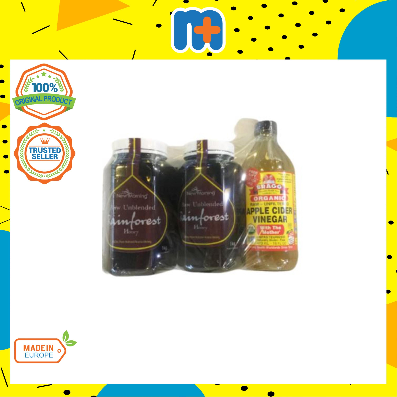 [MPLUS] NEW MORNING Rainforest Honey 2x1kg Foc Bragg Apple Cider Vinegar 16oz