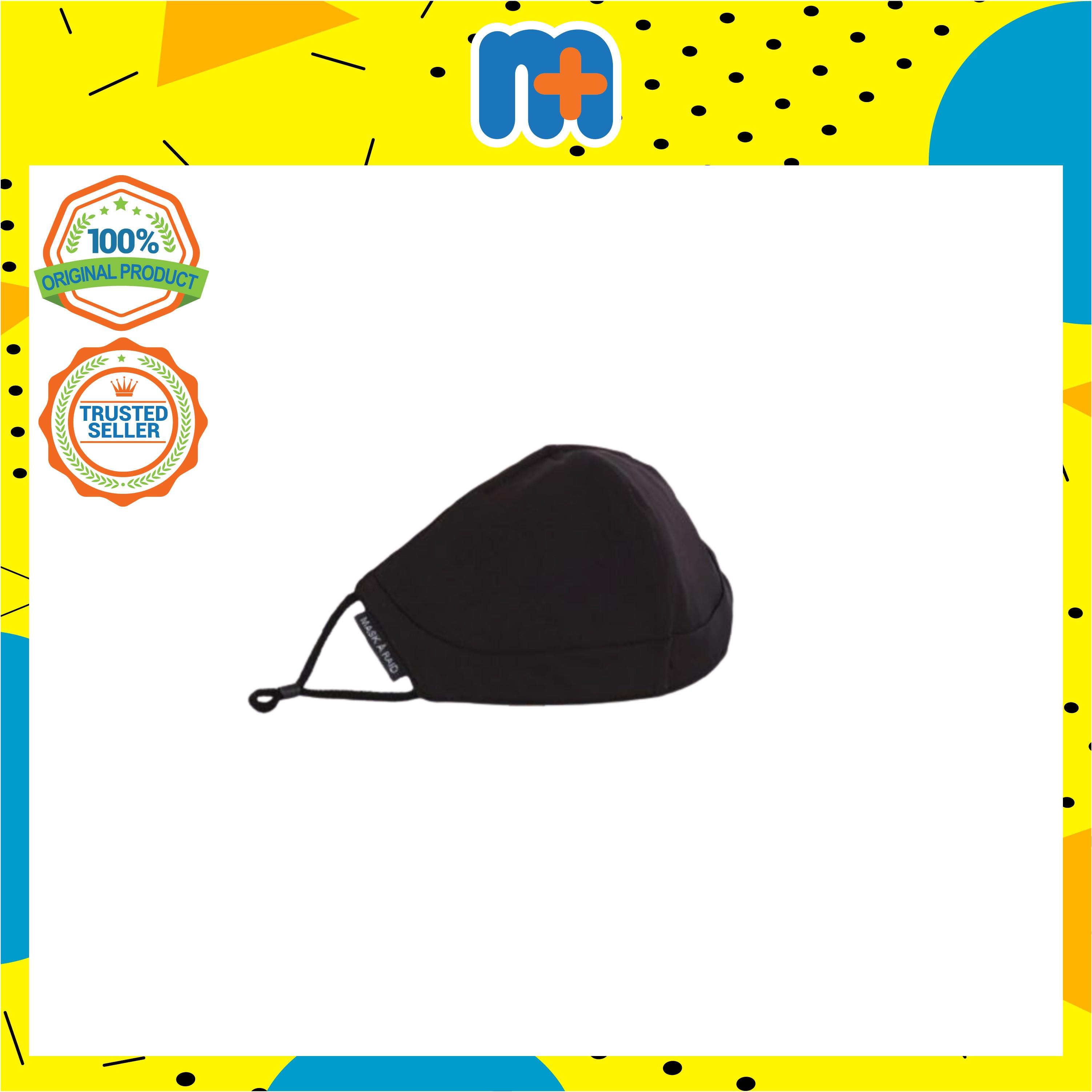 [MPLUS] MASKARAID Jet Black Adults Structured 3 PLY Reusable Fabric Mask
