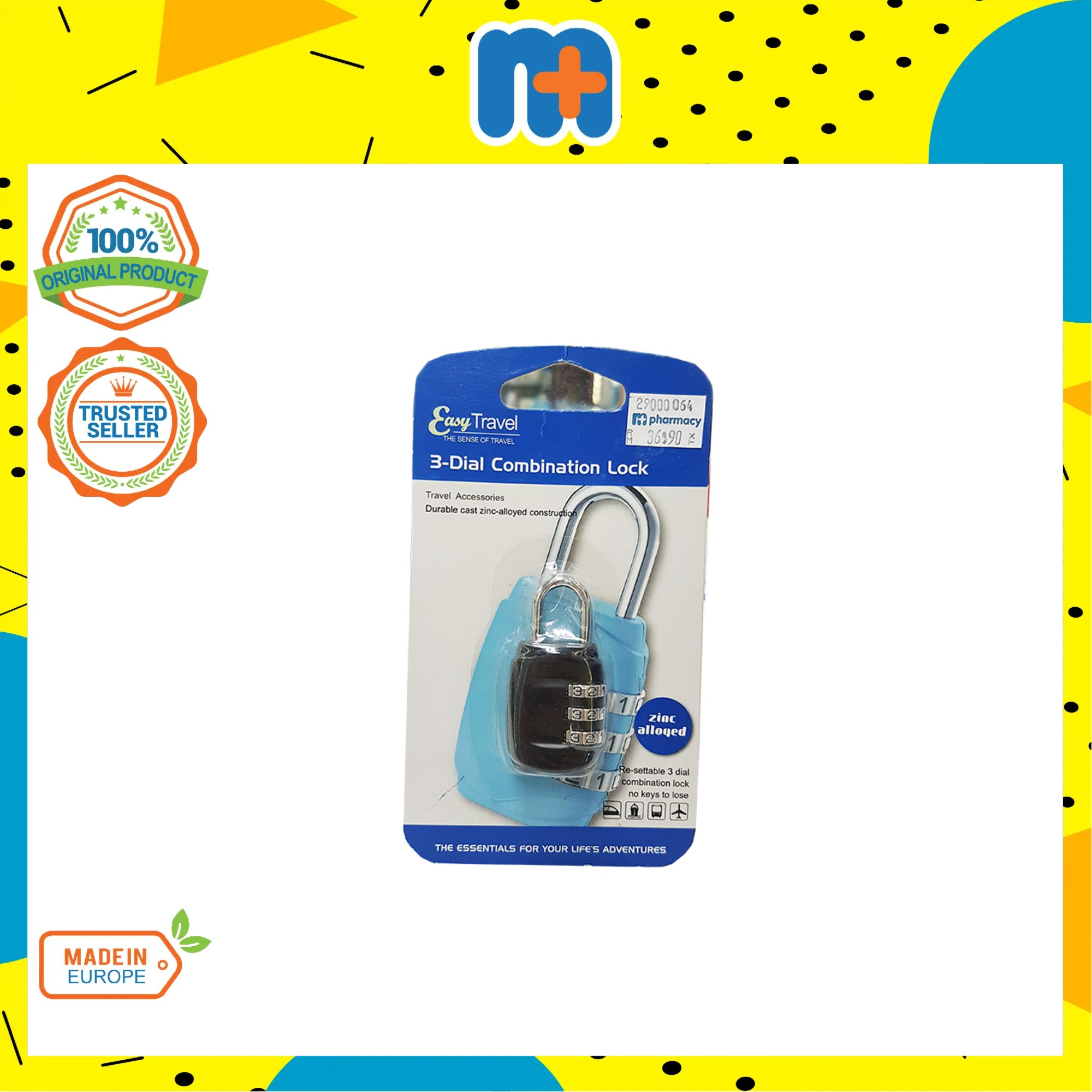 [MPLUS] EASY TRAVELl 3-Dial Combination Shackle Locks