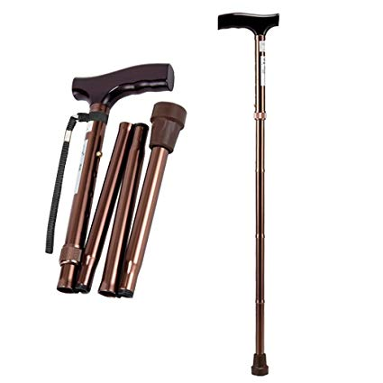 [MPLUS] Adj Folding Walking Stick Bronze