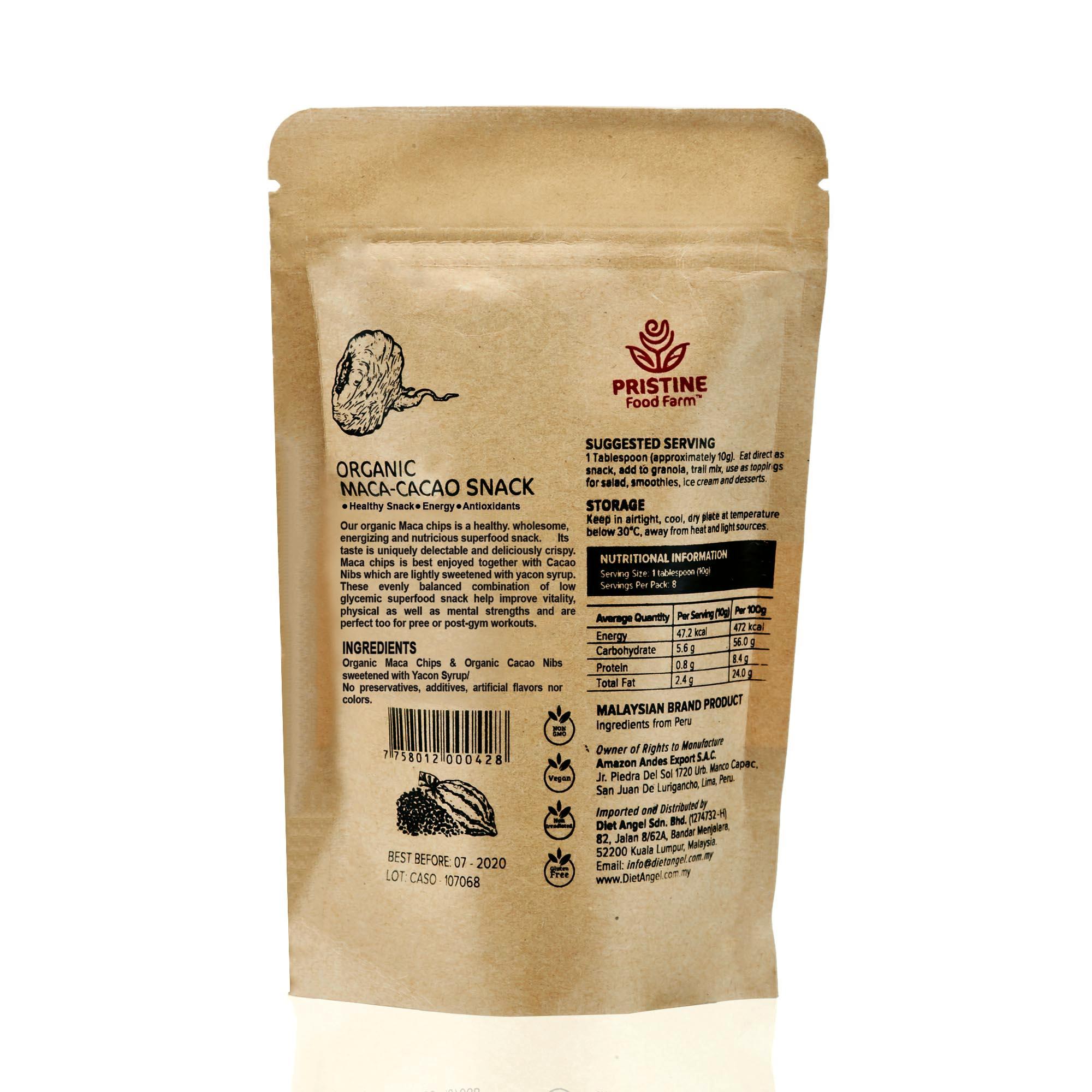[MPLUS] Pristine Food Farm Organic Maca-Cacao Snack 75Gm